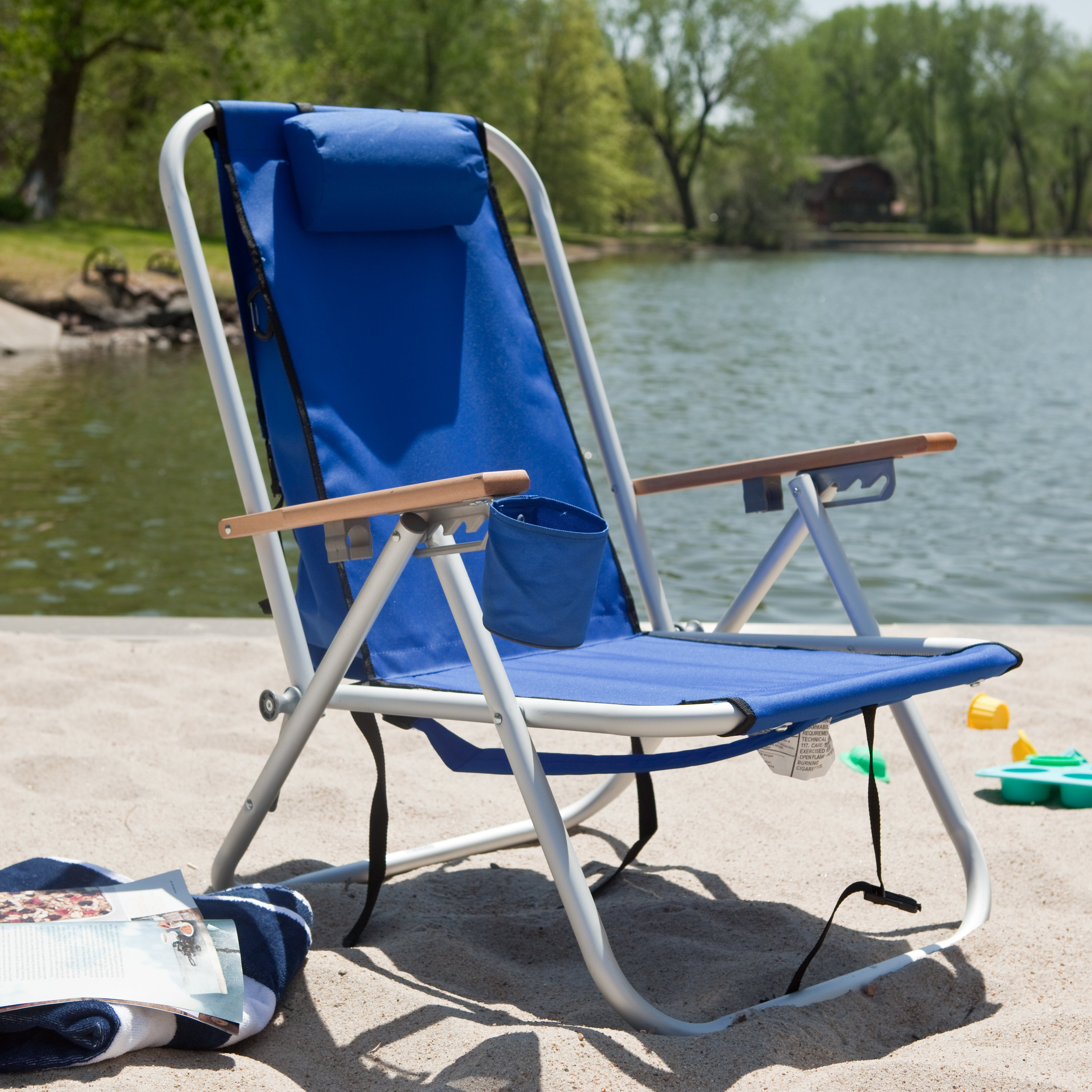 Terrific Zimtown Backpack Beach Chair Folding Portable Chair Blue Solid Construction Camping New Beatyapartments Chair Design Images Beatyapartmentscom