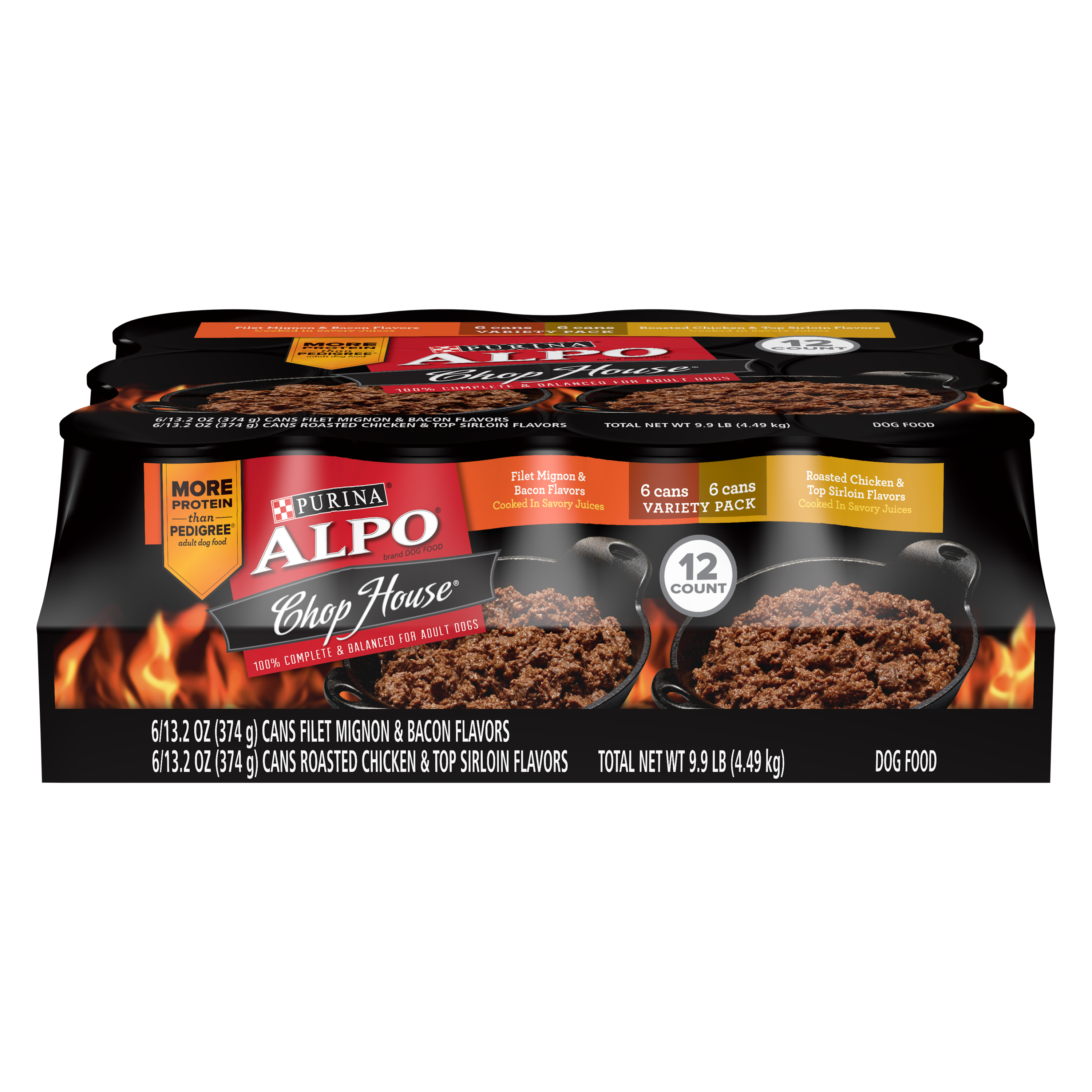 Purina ALPO Chop House Filet Mignon, Roasted Chicken & Top Sirloin Wet Dog Food Variety Pack - (12) 13.2 oz. Cans