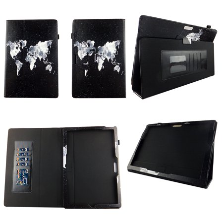 World Map Case for Microsoft Surface Pro 2017 Surface Pro 4 Surface Pro 3 (12.3'') Premium Pu Leather Slim Folio Stand Cover w Stylus Holder and Auto Wake /