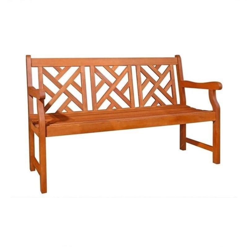 Pemberly Row Mahogany Hardwood Bench