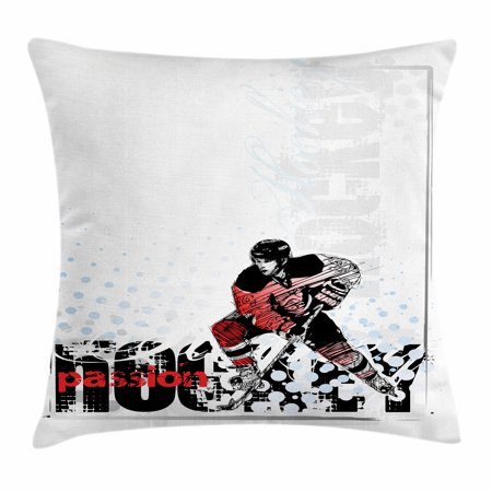 Hockey Throw Pillow Cushion Cover, Artwork of a Goalie with Protective Helmet and Stick Playing Sports Passion Theme, Decorative Square Accent Pillow Case, 18 X 18 Inches, Multicolor, by Ambesonne - Hockey Themed Gifts