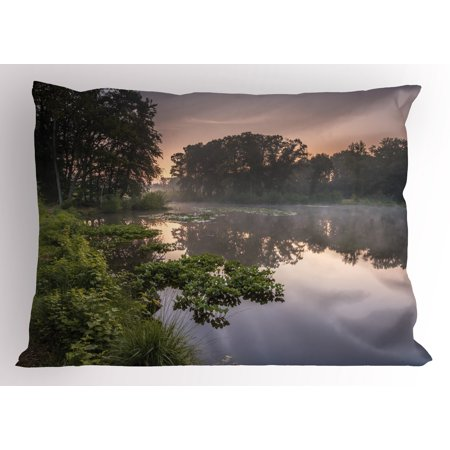 - Forest Pillow Sham Lake in Natura Reserve Springendal Netherlands Foggy Morning in Woods Ecology, Decorative Standard Queen Size Printed Pillowcase, 30 X 20 Inches, Green Purplegrey, by Ambesonne