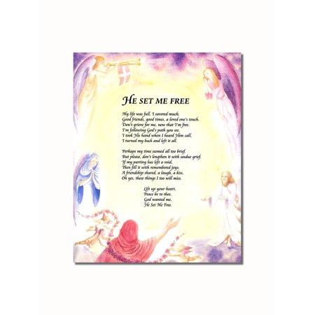 He Set Me Free Angels Christian Religious Wall Picture 8x10 Art -