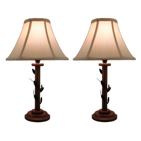 Set of 2 Climbing Ivy Vine Decorative Candlestick Lamps w/Fabric Shade 16 Inch