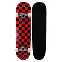 Runner Sports Complete Full Size Maple Checkerboard Deck Skateboard - Red