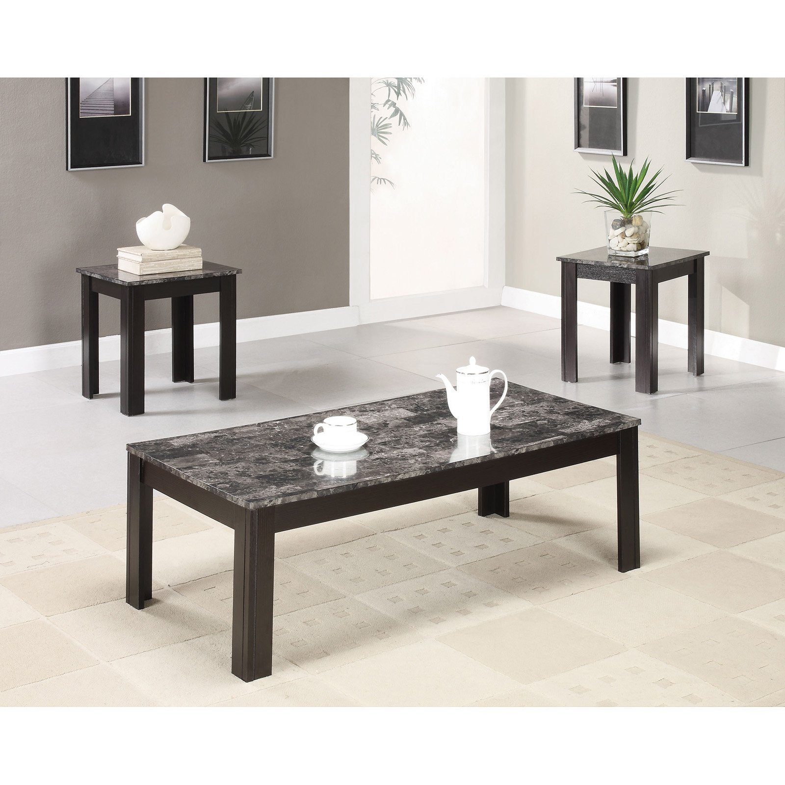 Coaster 3-Piece Table Set, Grey Marble Finish