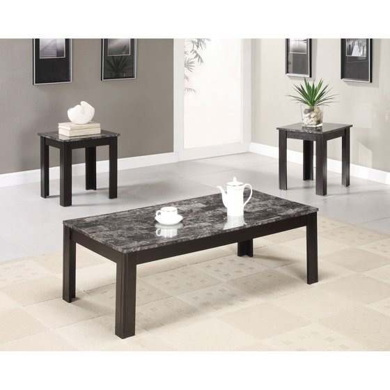 3 Piece Faux Marble Coffee Table Set Living Room Sofa: Coaster 3-Piece Table Set, Grey Marble Finish