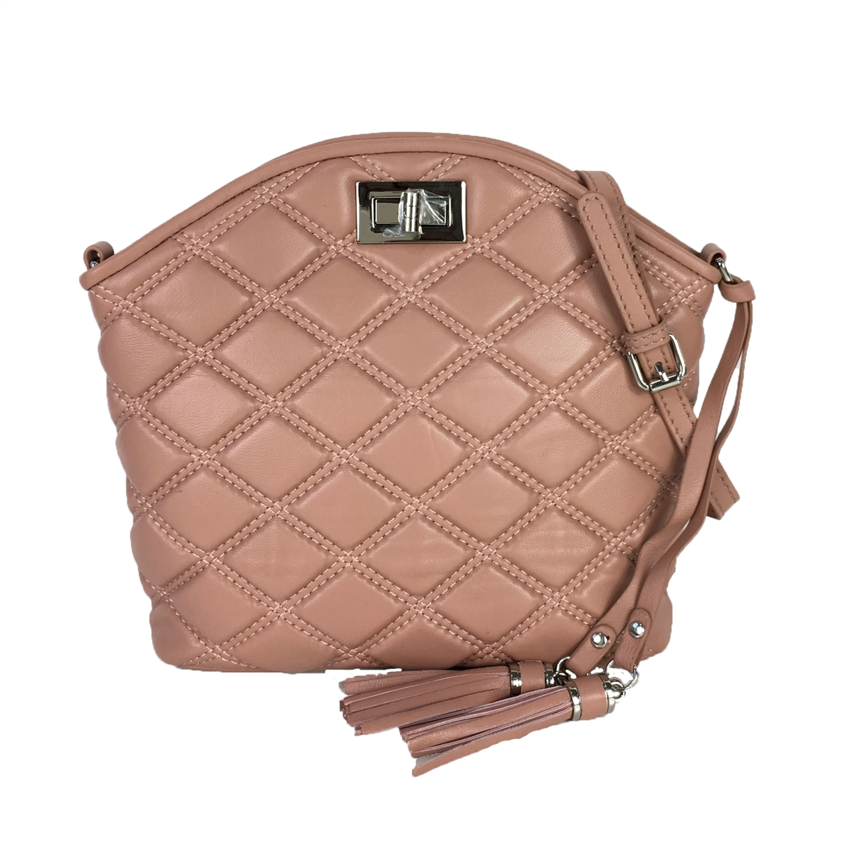 Zenith Quilted Leather Dome Convertible Crossbody, Mauve ...