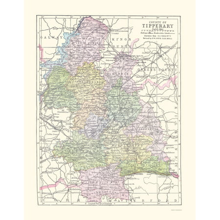 Tipperary County Ireland - Bartholomew 1882 - 23 x 29.46