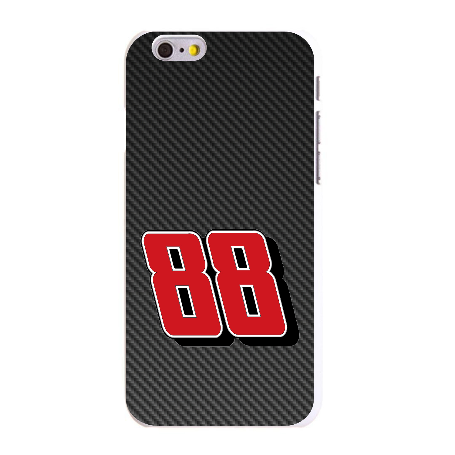 """CUSTOM White Hard Plastic Snap-On Case for Apple iPhone 6 PLUS / 6S PLUS (5.5"""" Screen) - Race Car Number 88"""