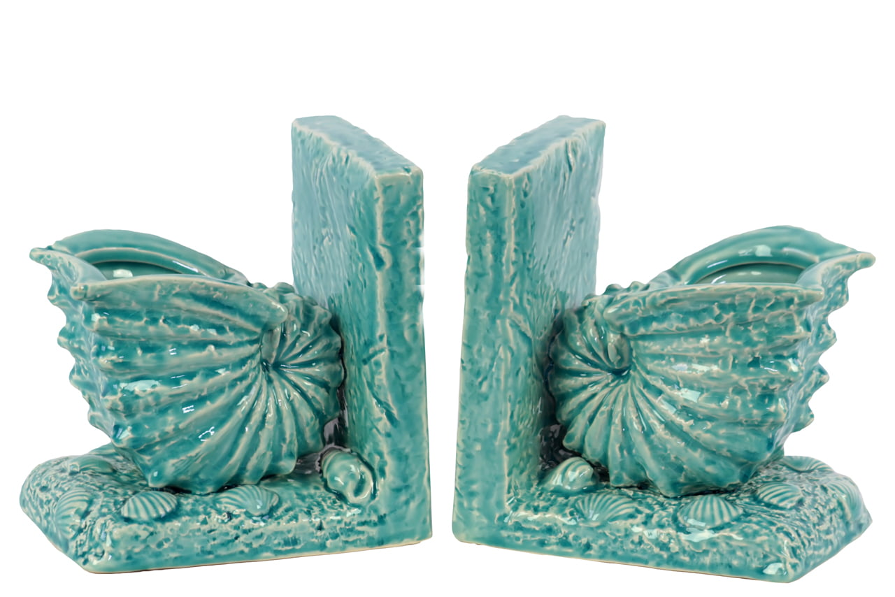 Beautiful Ceramic Sea Snail Shell Bookend W  Detailed Featur'S Turquoise by Benzara