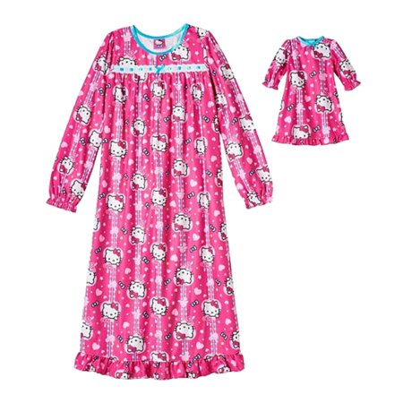 Hello Kitty Girls Pink Nightgown Doll Night Gown Set Sleep Wear Nightie