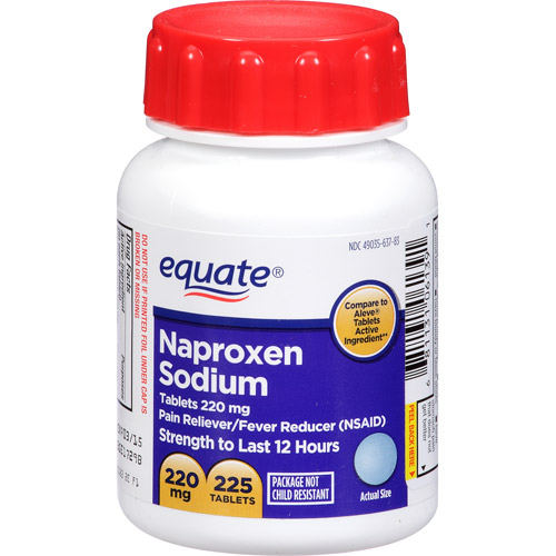 Equate Naproxen Sodium Easy Open Tablets, 225 count