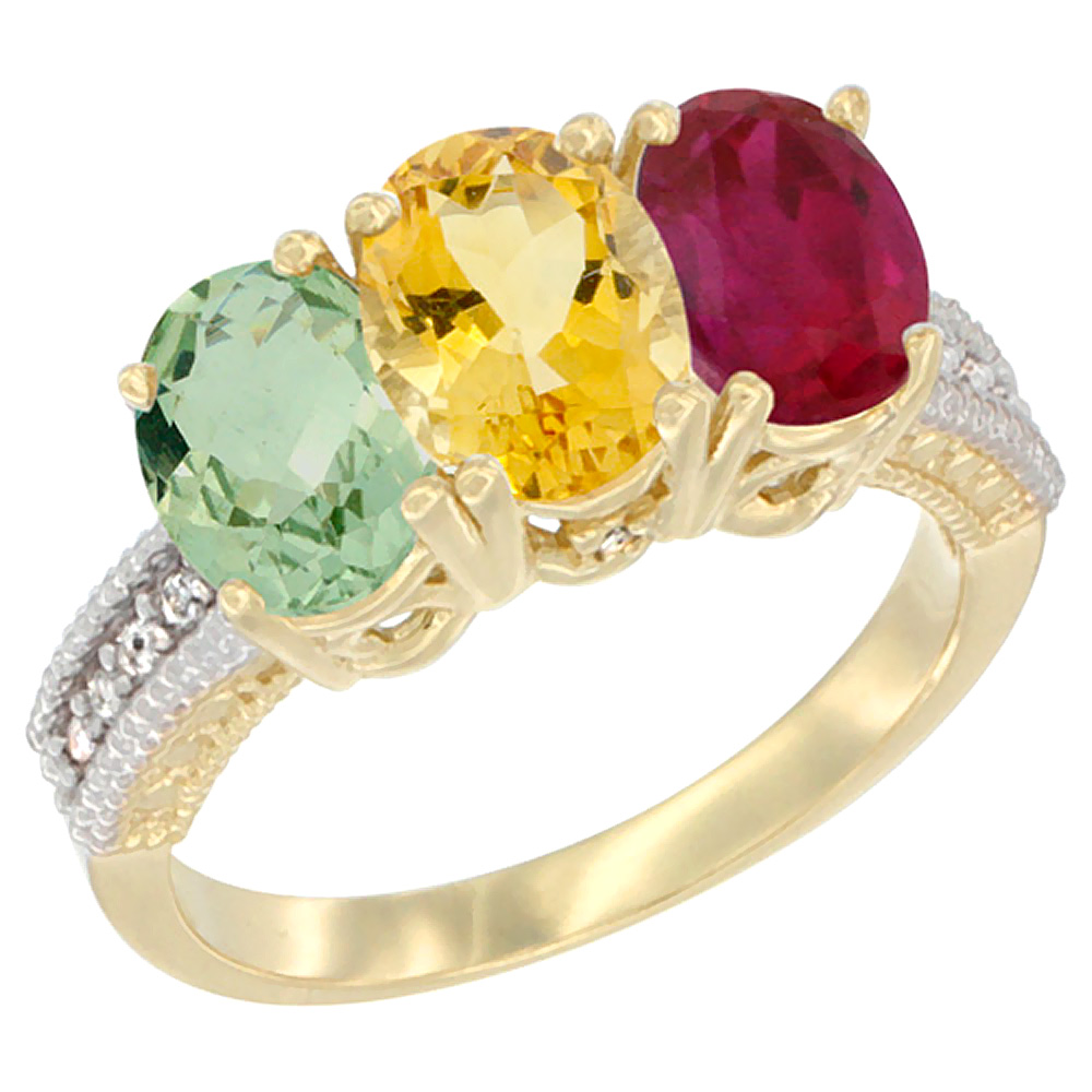 10K Yellow Gold Diamond Natural Green Amethyst, Citrine & Enhanced Ruby Ring 3-Stone Oval 7x5 mm, sizes 5 10 by WorldJewels