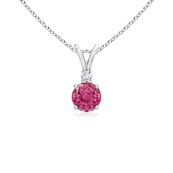 Mother's Day Jewelry Necklace V-Bail Round Pink Sapphire Solitaire Pendant with Diamond in 950 Platinum (4mm Pink... by Angara.com