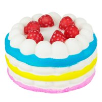 Stress Squishy - Full Cake w/BLU/YLW/PNK Stripe & Berries