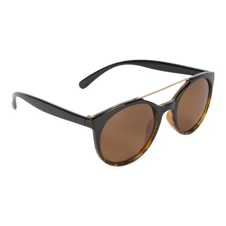 Inner Vision Classic Oversized Polarized Sunglasses, Revo Lens, Scratch Resistant, 100% UV Protection With Case - Black to Demi Frame, Brown (Mens Sunglasses Case)