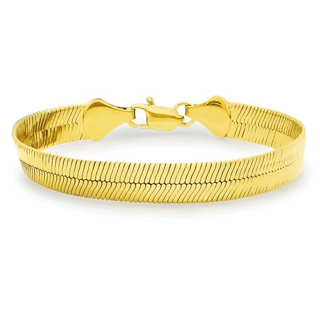 4 5mm 10 14k Yellow Gold Plated Flat Herringbone Bracelet Anklet 7 8