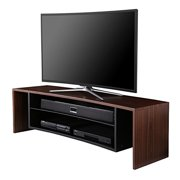Fitueyes Wood/Glass Curved TV stand designed for OLED LCD LED Curved TVs, fit up to 65 inch screen Walnut grain