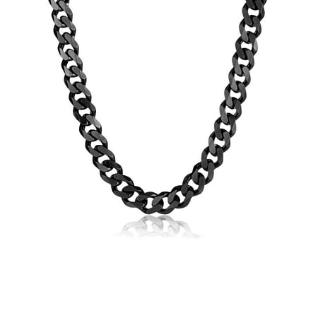 Black Plated Stainless Steel Curb Chain Necklace (14mm) - 24