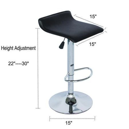 Faux Leather Air Lift Adjustable Metal Bar Stool in Black -