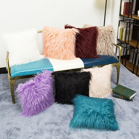 AngelCity Home Decorative Super Soft Plush Faux Fur Throw Pillow Cases Square Sofa Cushion Cover 18 x 18