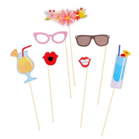 Tinksky 21pcs Hawaii Themed Summer Party Photo Booth Props Kit DIY Luau Party Supplies for Holiday Wedding Beach Party