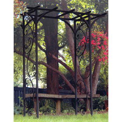 PANACEA 89087 Garden Arbor w Vines Black Panacea 84-Inch Black Garden Arbor with Vines by Panacea