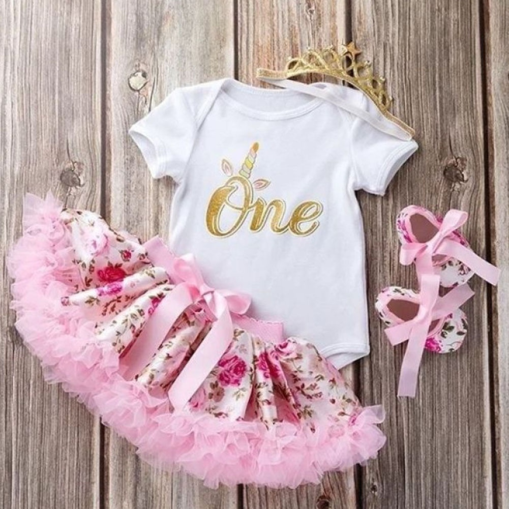 Baby Girl 1st Birthday Party Dress Floral Romper Tutu Skirt Outfit Clothes Sweet