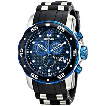 17878 Men's Pro Diver Chronograph Black Carbon Fiber Dial Black Polyurethane Watch Carbon Fiber Chronograph Watch