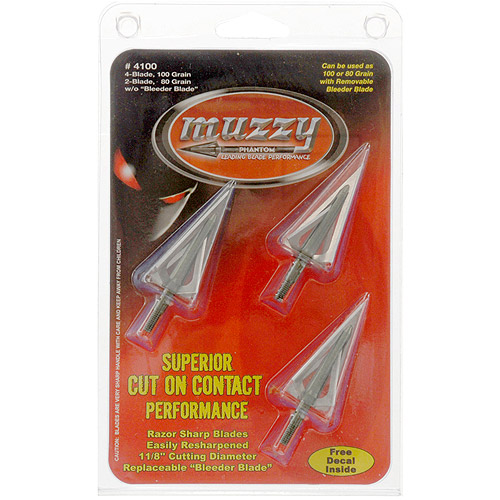 Muzzy Phantom 100 Grain 4-Blade Broadhead, 3pk