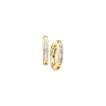 10k Yellow Gold Baguette Channel-set Natural Diamond Womens Small Dainty Hoop Fine Earrings (.14 cttw.) Baguette Cut Diamond Earrings
