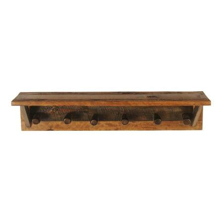 6 Peg Rustic Wood Coat Rack W Shelf Walmart Com