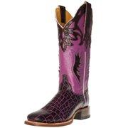 Cinch Western Boots Womens Cowboy Croco Square Toe Brown Purple CFW580
