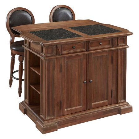 Home Styles Americana Vintage Kitchen Island With Optional Stools