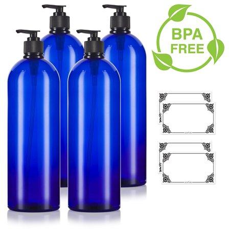 Gel 32 Oz Pump Bottle (Cobalt Blue 32 oz Large Boston Round PET Bottles (BPA Free) with Black Lotion Pump (4 pack) + Labels)