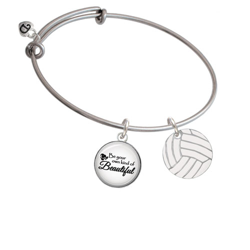3/4'' Enamel Volleyball Be Your Own Kind of Beautiful Bangle Bracelet