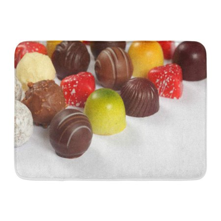Praline Liqueur - GODPOK Candy Brown Bonbon of Assorted Truffles Pralines and Liqueur Filled Chocolates on White Gourmet Valentine Rug Doormat Bath Mat 23.6x15.7 inch