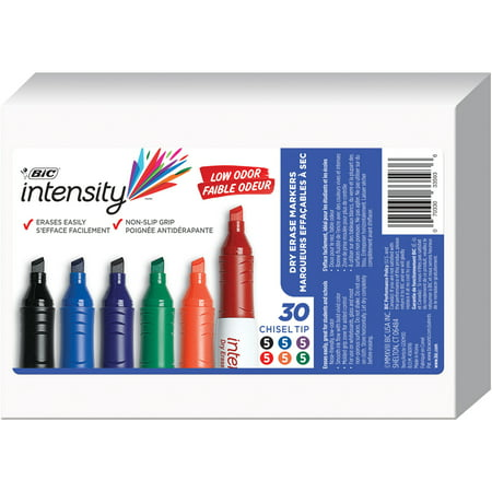 BIC Intensity Low Odor Dry Erase Marker, Tank Style, Chisel Tip, Assorted Colors, 30 Count