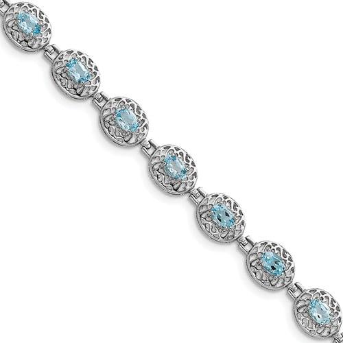 Sterling Silver Blue Topaz Filigree Bracelet. Gem Wt- 6.6ct by Jewelrypot