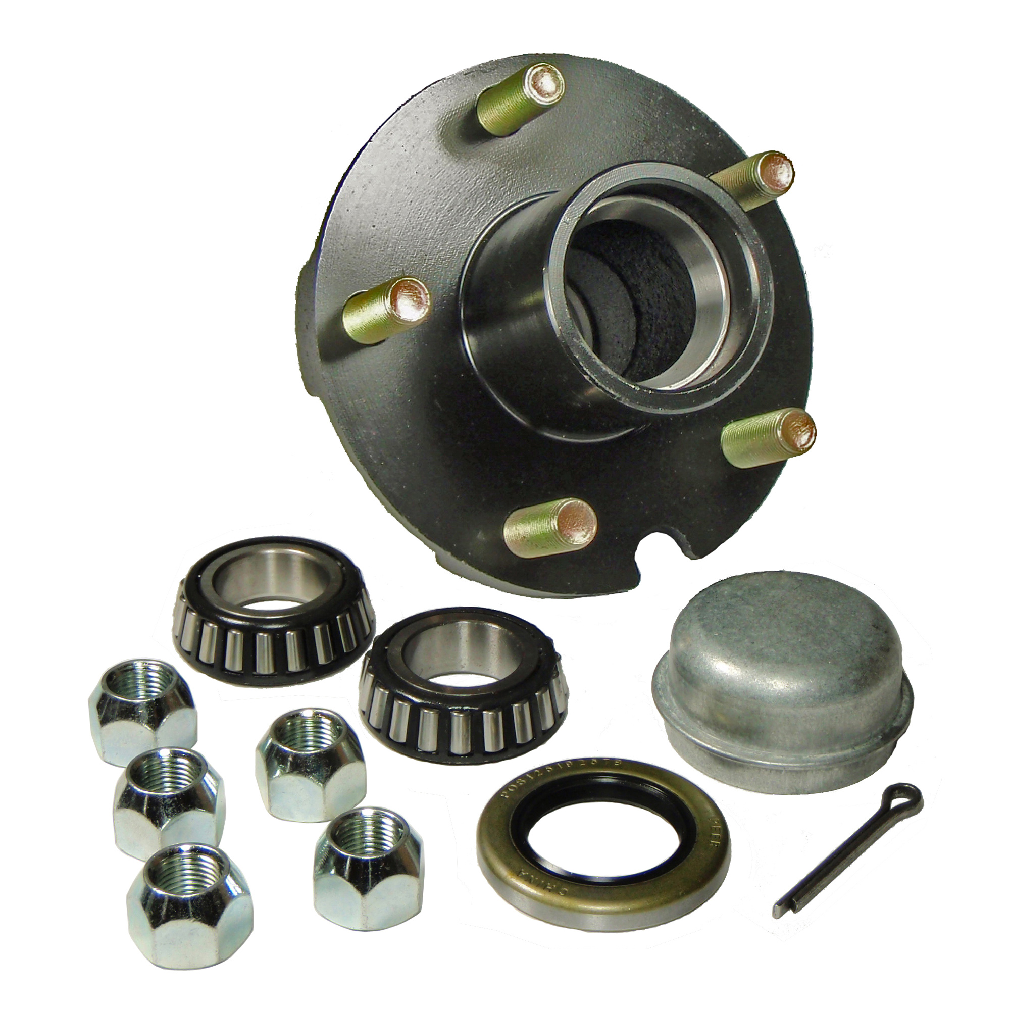 Trailer Hub Kit - 5 Bolt on 4-1/2 Inch Circle - 1 inch I.D. Bearings
