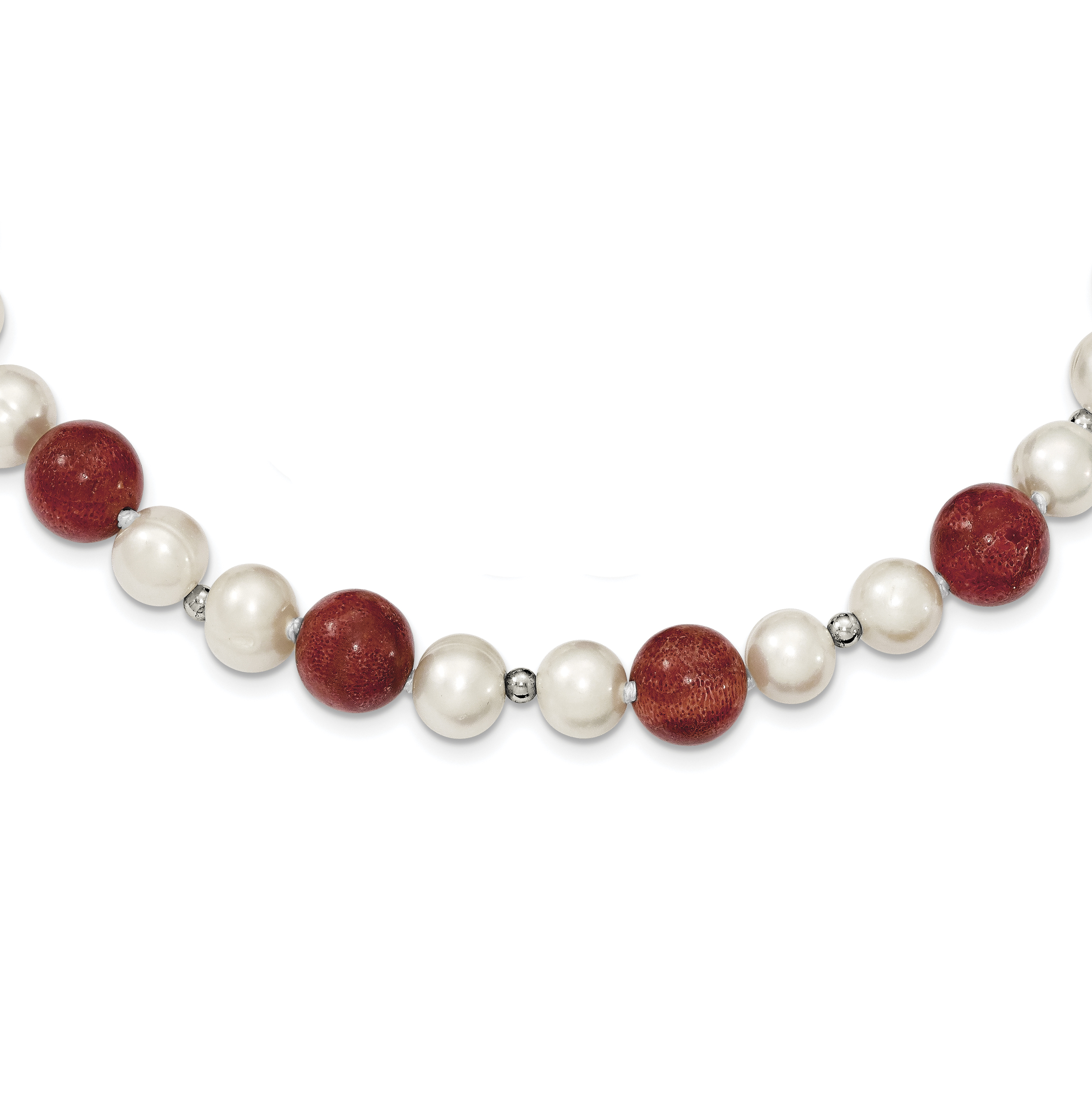 925 Sterling Silver FW Cultured Pearls & Stabilized Red Coral Necklace by