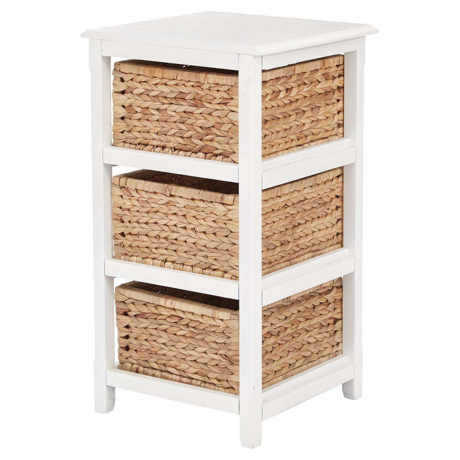 Osp Home Furnishings Seabrook Three Tier Storage Unit With White Finish And Natural Baskets Walmart Com Walmart Com
