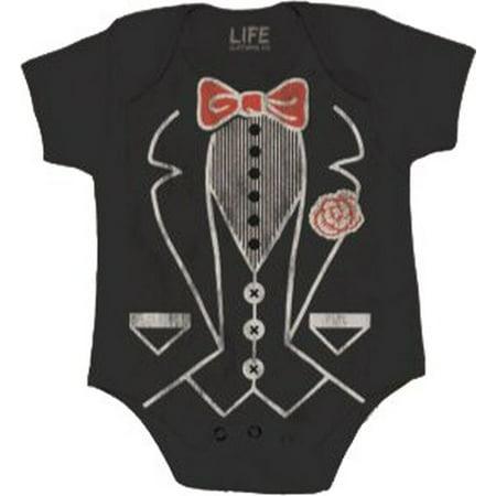 Baby Tuxedo Romper (Tuxedo Tee Black Infant Baby Onesie)