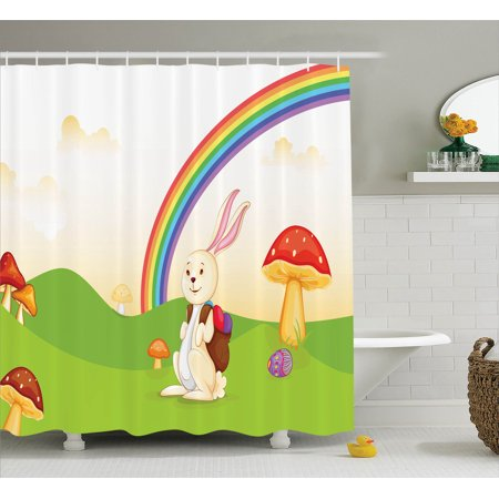 Https Www Walmart Com Ip Bunny With Easter Egg Under The Rainbow Nature Kids Theme Shower Curtain Set 198335127