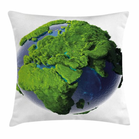 Earth Throw Pillow Cushion Cover  World Covered With Lush Green Forest Grass And Blue Waters Eco Nature Concept  Decorative Square Accent Pillow Case  24 X 24 Inches  Green Violet Blue  By Ambesonne