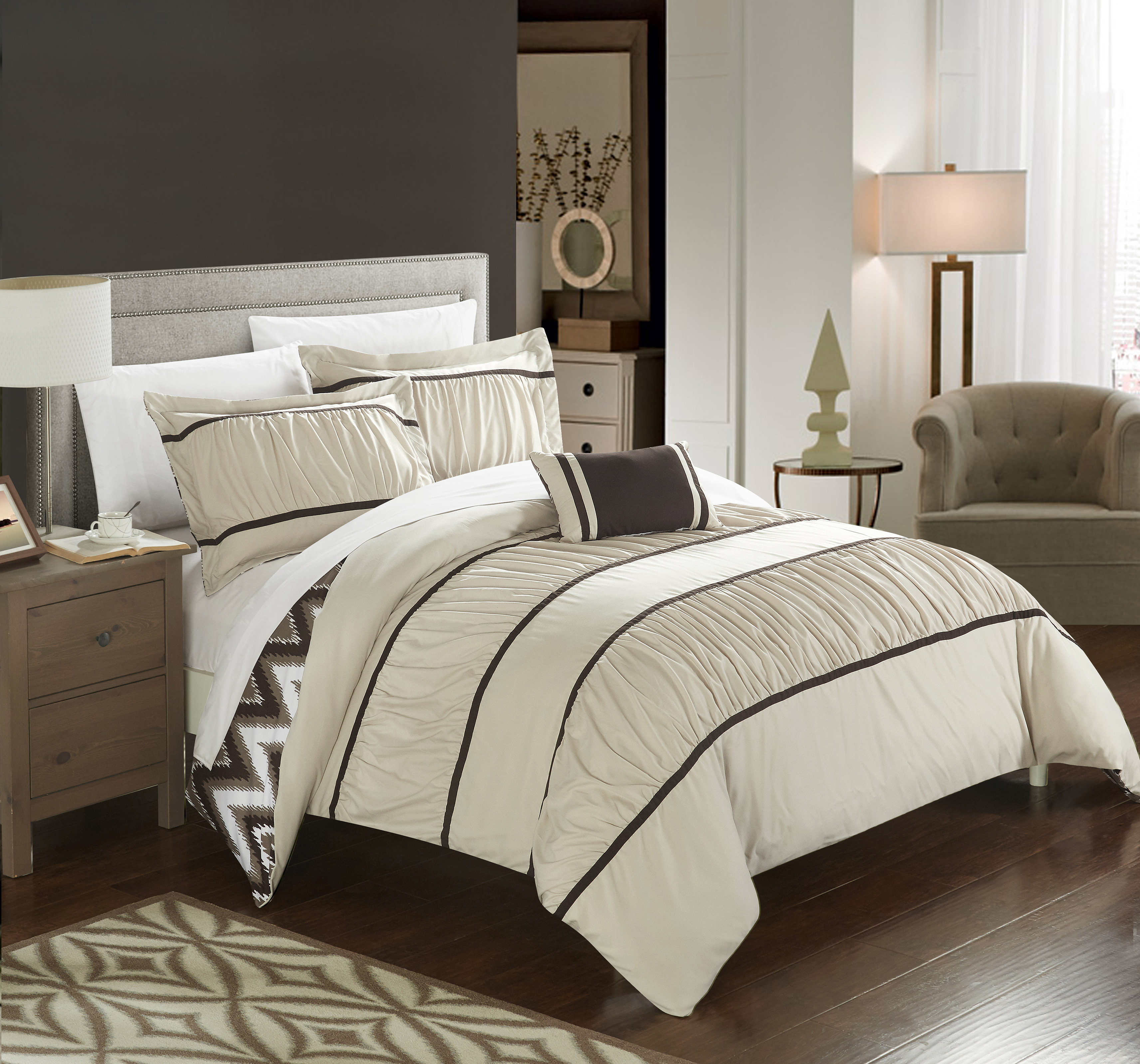 Chic Home 3-Piece Brooks Pleated & Ruffled with Chevron REVERSIBLE Backing Twin Comforter Set Beige Shams and Decorative Pillows included