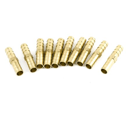 """Unique Bargains 10pcs Chrome Plated Brass Pneumatic Fittings Hose Barbed Quick Coupling 5/16"""""""