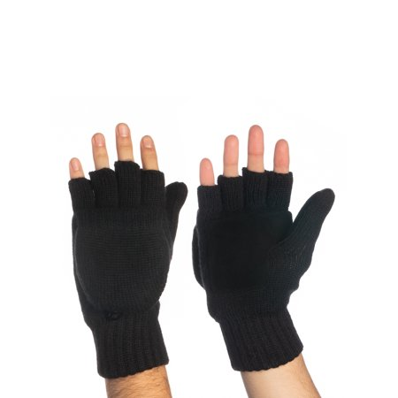 John Bartlett Statements 3M Thinsulate Knit Fingerless Gloves Convertible Top Wool Flip Gloves With Mitten Cover For Men Women Winter