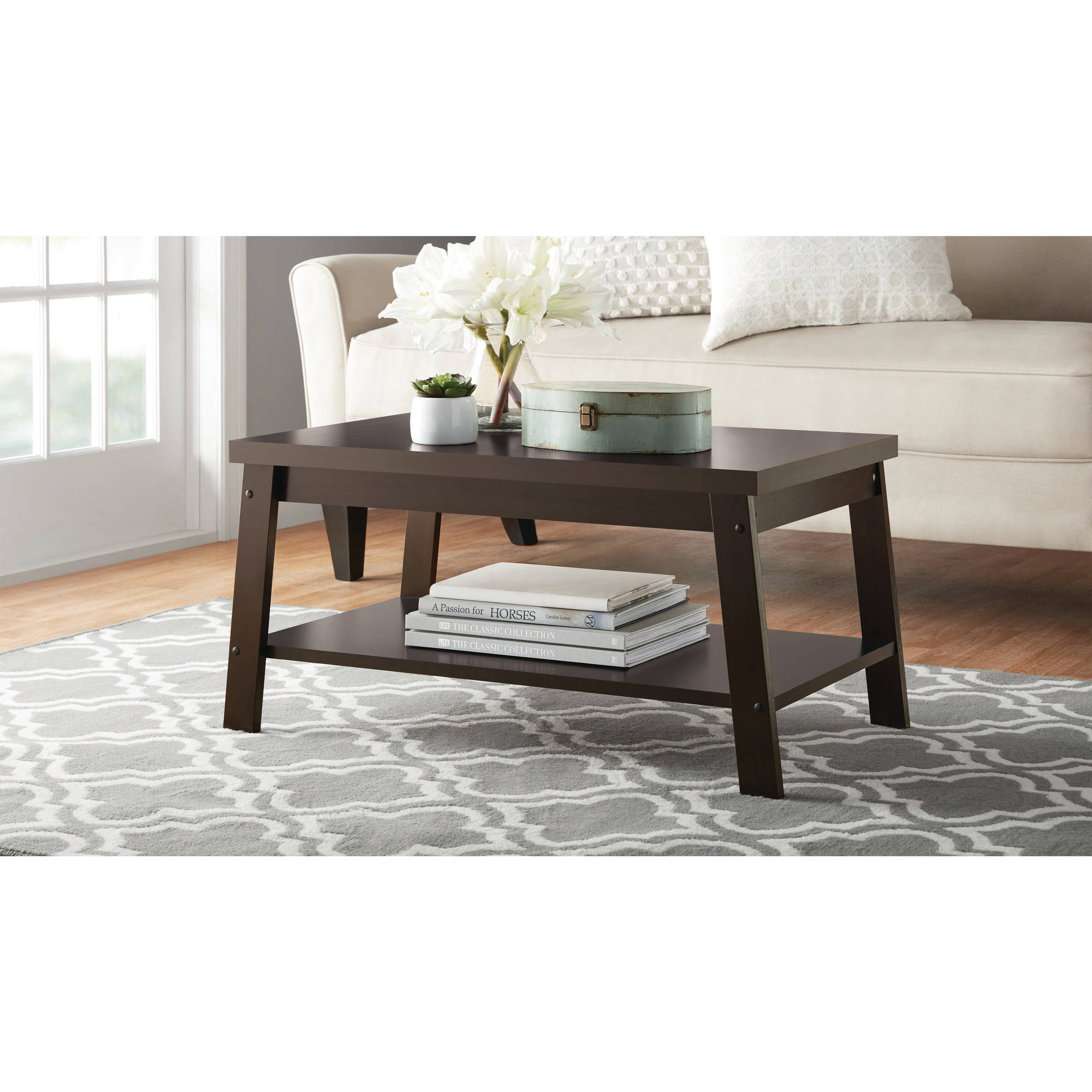 Mainstays Logan Coffee Table Espresso Finishes Walmart